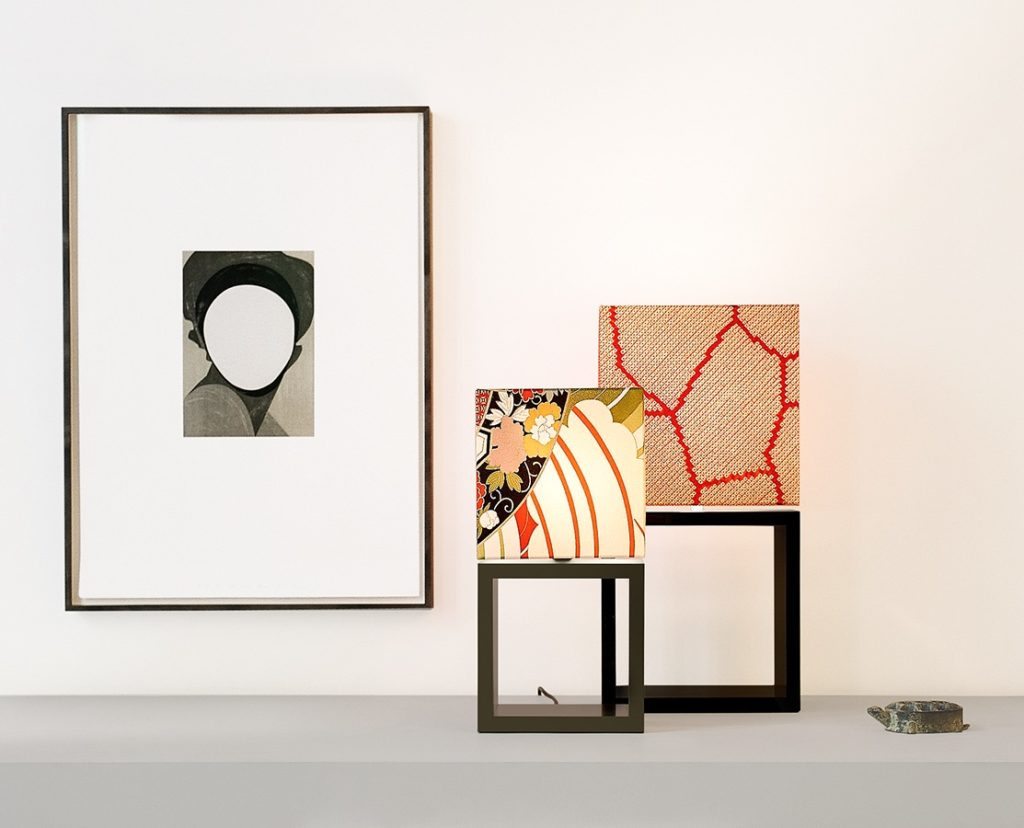Table lamps Edition Saiso big and Edition Saiso small by filumen with square kimono silk shade and piano lacquer foot.